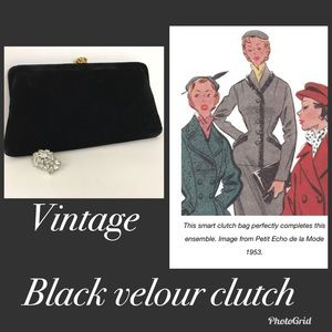 1950's black velour clutch